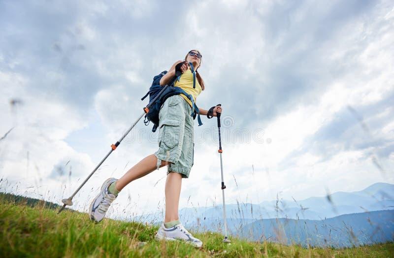 Der Frauenwanderer, der auf grasartigem Hügel, tragender Rucksack, unter Verwendung des Trekkings wandert, haftet in den Bergen lizenzfreies stockbild