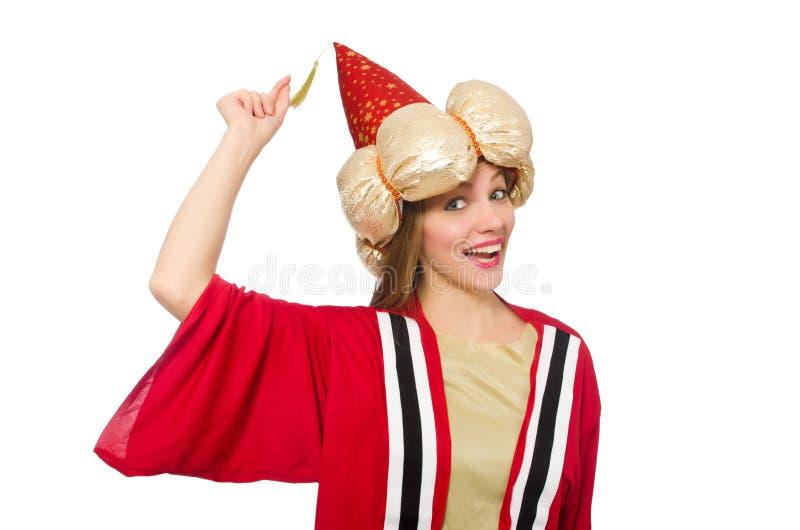 Der Frauenzauberer in der roten Kleidung lokalisiert auf Weiß lizenzfreie stockbilder