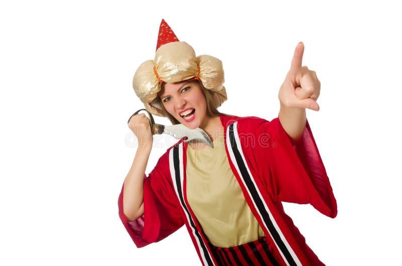 Der Frauenzauberer in der roten Kleidung lokalisiert auf Weiß stockfoto