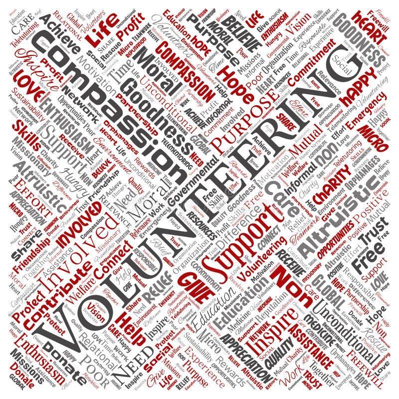 Der freiwillig erbietende Vektor, Nächstenliebe, humanitäre quadratische rote Wortwolke lokalisierte Hintergrund Collage von selb vektor abbildung
