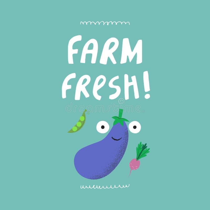 Der frische Bauernhof hatte Vektorillustration gezeichnet stock abbildung