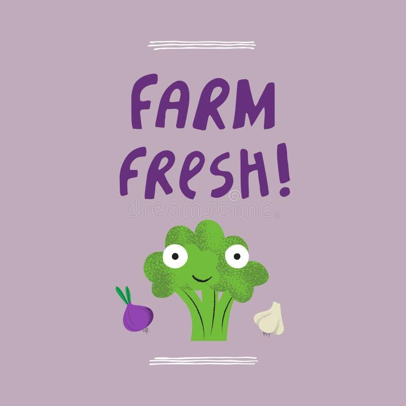 Der frische Bauernhof hatte Vektorillustration gezeichnet vektor abbildung