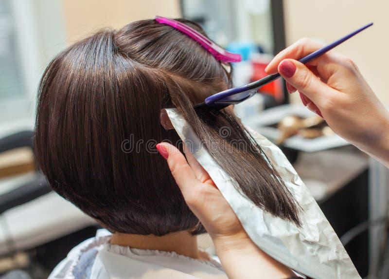 Der Friseur malt das Frau ` s Haar in einer dunklen Farbe, zutreffen die Farbe auf ihr Haar lizenzfreie stockbilder