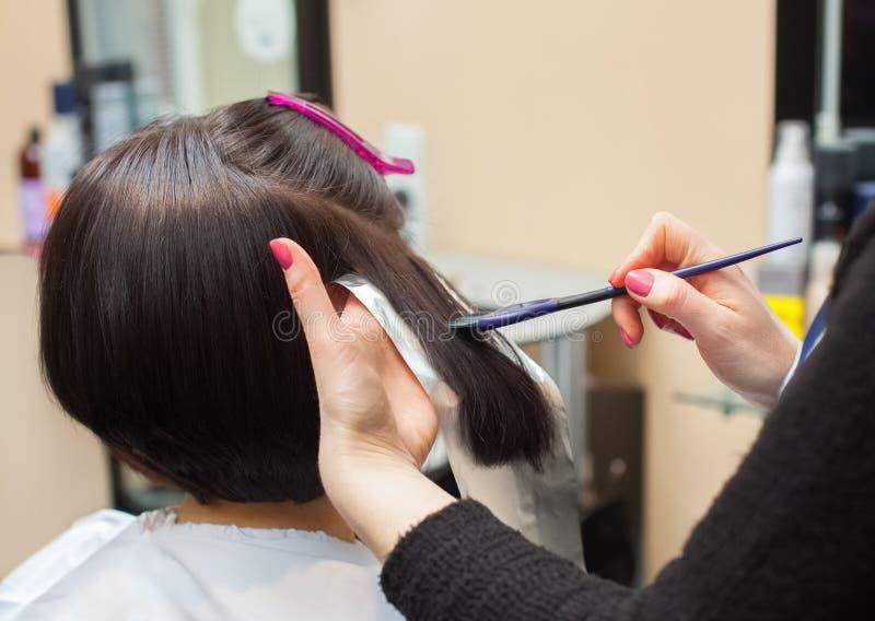 Der Friseur malt das Frau ` s Haar in einer dunklen Farbe, zutreffen die Farbe auf ihr Haar stockbild