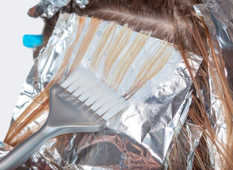 Der Friseur malt das Frau ` s Haar in einer weißen Farbe, zutreffen die Farbe auf ihr Haar stockfotos