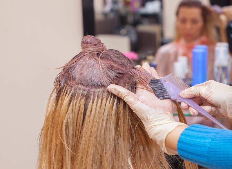 Der Friseur malt das Frau ` s Haar im Weiß, zutreffen die Farbe auf ihr Haar lizenzfreies stockfoto