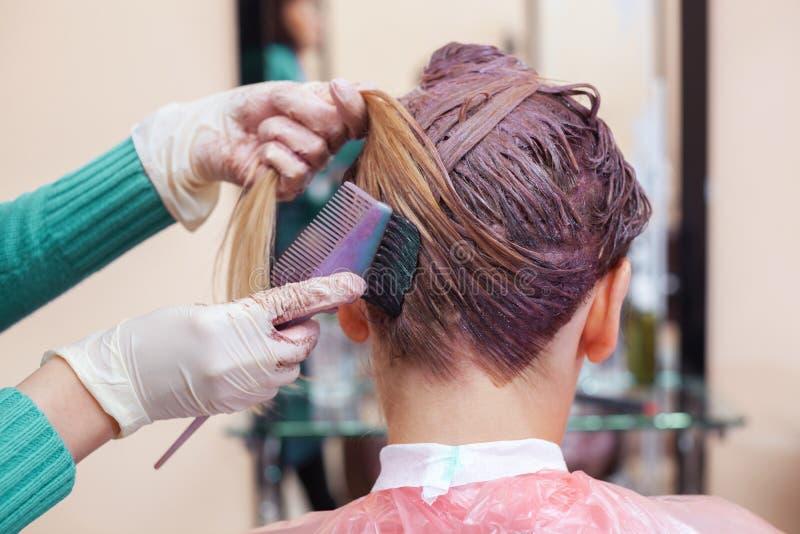 Der Friseur malt das Frau ` s Haar im Weiß, zutreffen die Farbe auf ihr Haar stockfoto
