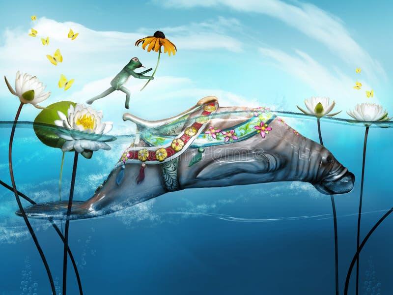 Der Frosch springend auf Manatis lizenzfreie abbildung