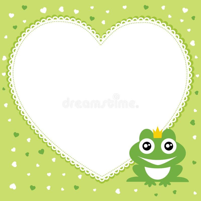 Der Froschprinz mit Herzformrahmen. stock abbildung