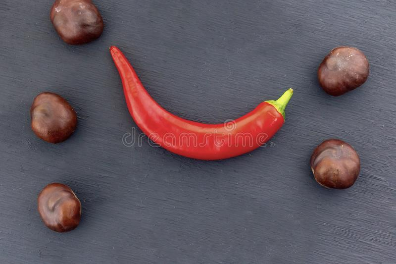 Der Fruchtkastanie der Reihe rotes rotes Scharfes der braunen kulinarischen gesetzten Rahmen-Hülse gekurvt auf schwarzen Hintergr stockfotos