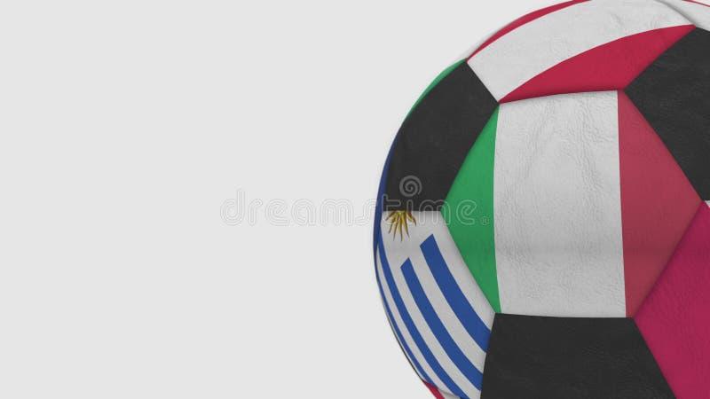 Der Fußballball, der verschiedene Nationalmannschaften kennzeichnet, betont Flagge von Italien Wiedergabe 3d vektor abbildung