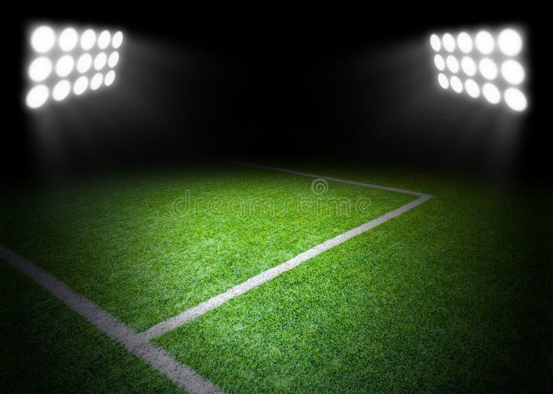 Der Fußballplatz mit Scheinwerfer im Stadion lizenzfreies stockfoto