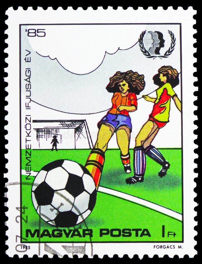 Der Fußball der Mädchen, für Jugend serie, circa 1985 stockbilder