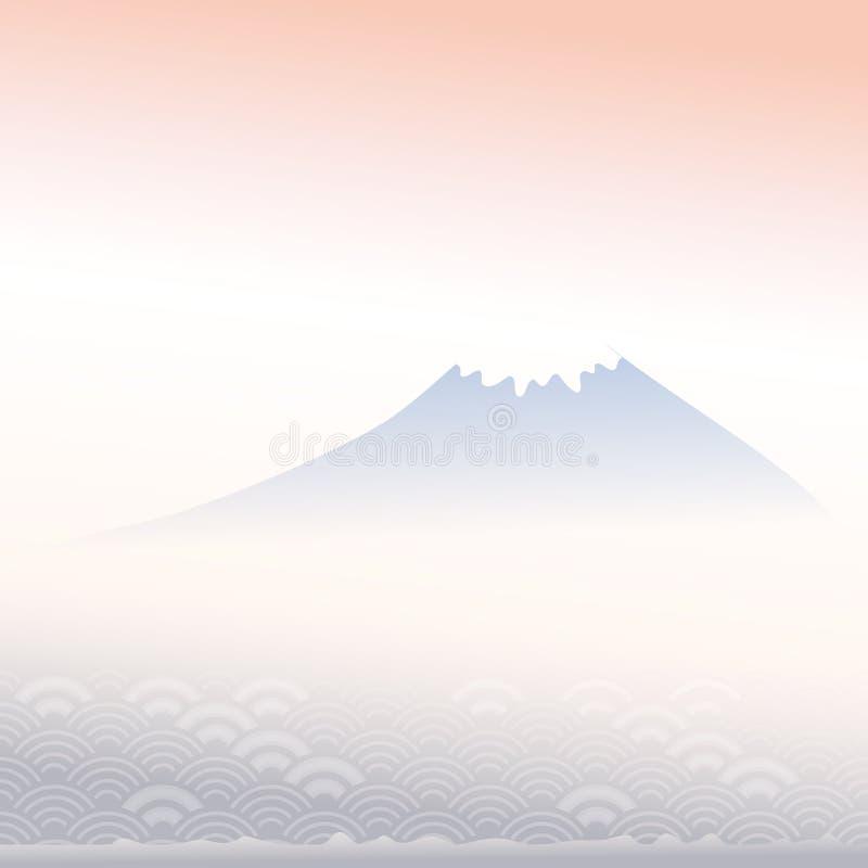 Der Fujisan, Dämmerung, Nebel, Berglandschaft, blauer grauer rosa Farbkarten-Fahnenentwurf für Textzusammenfassungs-Skalen einfac stock abbildung