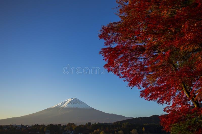 Der Fujisan mit rotem Herbstblatt. Japan stockfotos