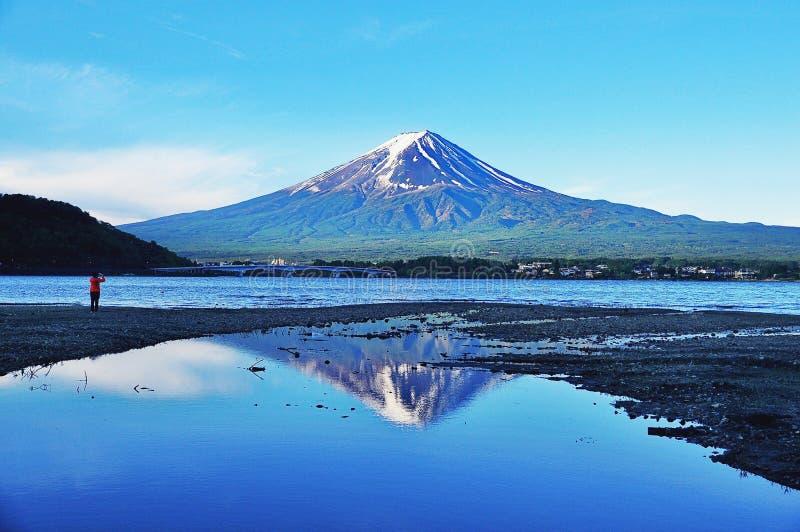 Der Fujisan und Kawaguchigo See morgens lizenzfreie stockfotografie