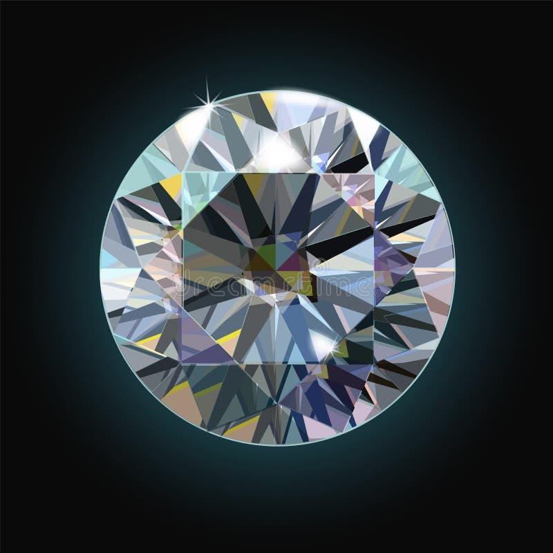 Der funkelnde Diamant auf einem schwarzen Hintergrund facettierte Kristall Vektor stock abbildung