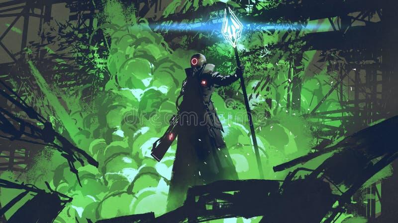 Der futuristische Mann im schwarzen Mantel lizenzfreie abbildung