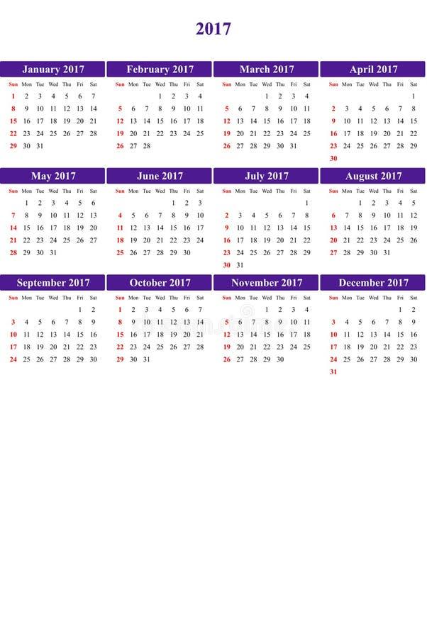Der Gänseblümchenbusch, der klar gefärbt wurde, färbte einfachen Kalender 2016 lizenzfreie abbildung