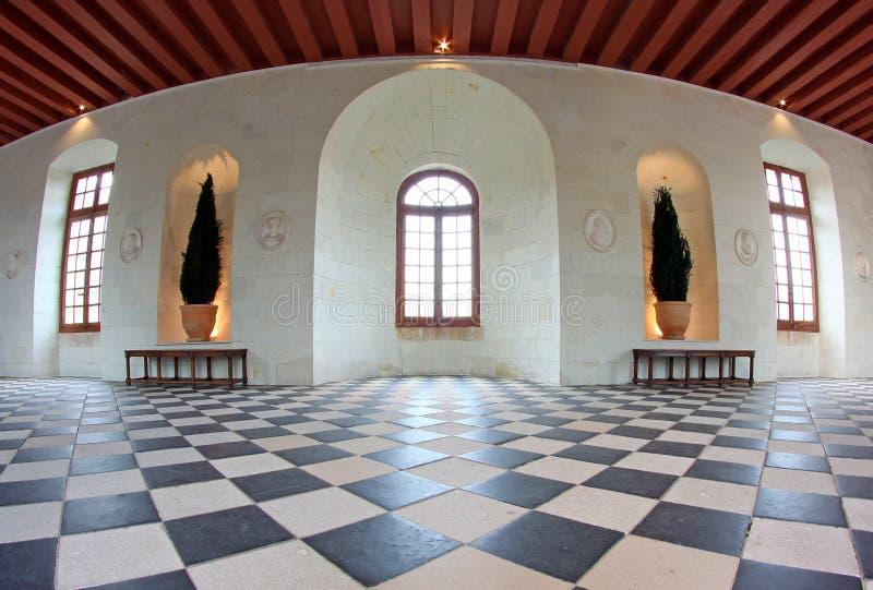 Der Galerie-Kugel-Raum am Chenonceau Schloss Frankreich lizenzfreie stockfotografie
