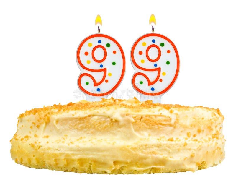 Der Geburtstagskuchen leuchtet Nr. neunundneunzig lokalisiert durch lizenzfreie stockbilder