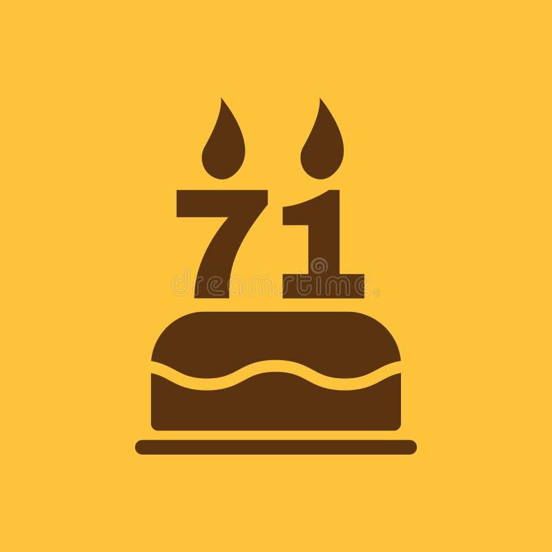 Der Geburtstagskuchen mit Kerzen in Form von Ikone der Nr. 71 Geburtstagssymbol flach vektor abbildung