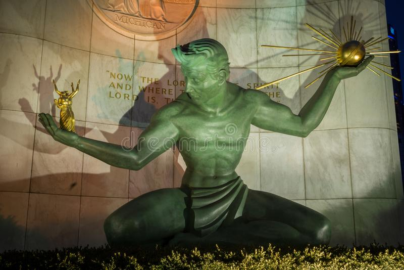 Der Geist von Detroit ist ein Stadtmonument in Detroit, Michigan USA stockbild