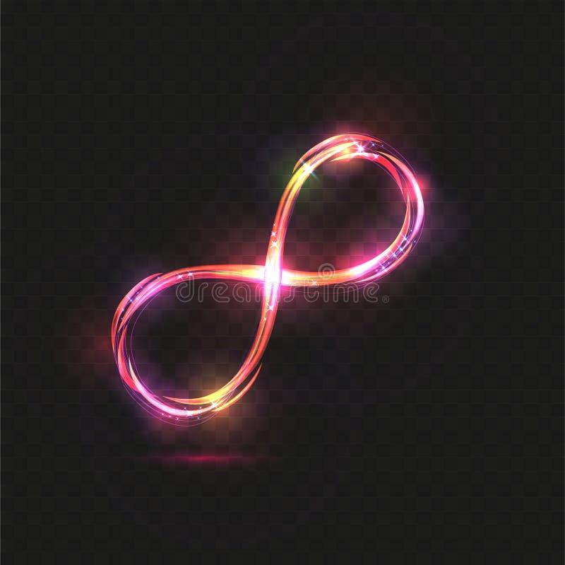 Der gelben des Vektors mehrfarbige Unendlichkeitszeichen-Strudelspur und rosa transparenten Magie glühende helle auf schwarzem Hi vektor abbildung