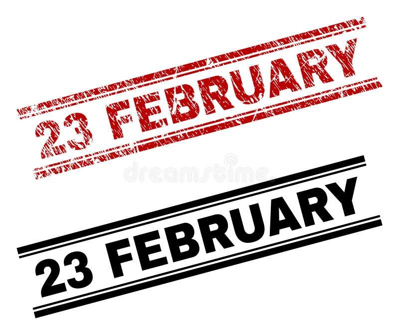 Der gemaserte Schmutz und säubert am 23. Februar Stempel-Drucke stock abbildung