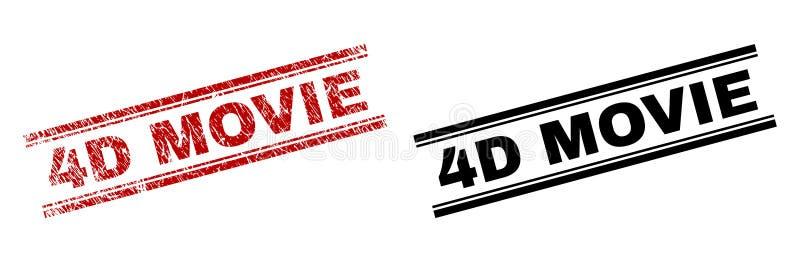 Der gemaserte Schmutz und säubert FILM 4D Stempel-Drucke vektor abbildung
