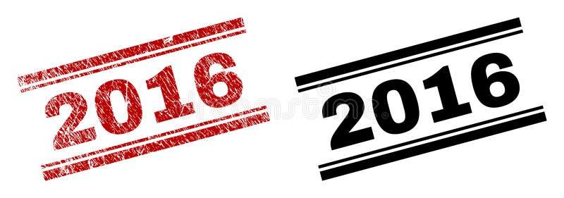 Der gemaserte Schmutz und säubert 2016 Stempel-Drucke lizenzfreie abbildung