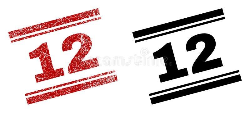 Der gemaserte Schmutz und säubert 12 Stempel-Drucke lizenzfreie abbildung