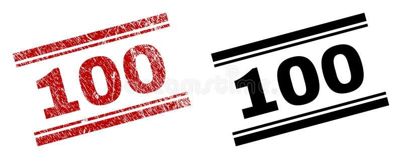 Der gemaserte Schmutz und säubert 100 Stempel-Drucke lizenzfreie abbildung