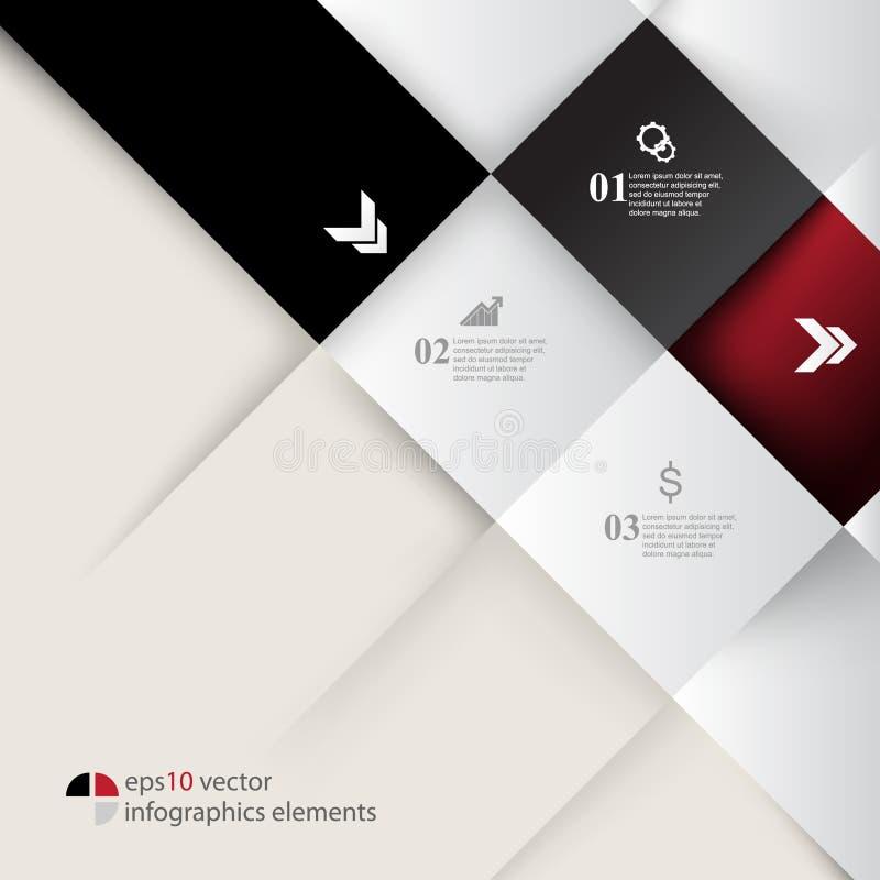 Der geprägte Vektor quadriert infographics Hintergrund lizenzfreie abbildung