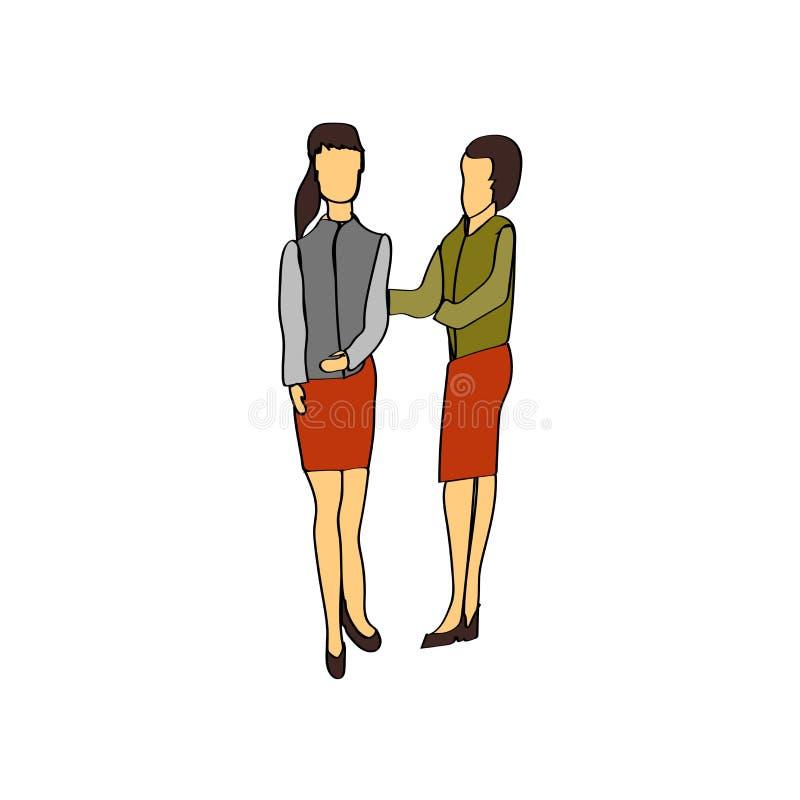 Der Geschäftsfrauikonenvektor, der auf weißem Hintergrund lokalisiert wird, Geschäftsfrauen unterzeichnen und stehen menschliche  vektor abbildung