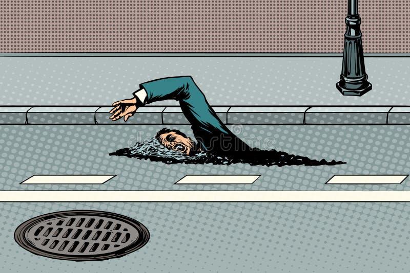 Der Geschäftsmann, der auf die Straße schwimmt, mögen einen Fluss stock abbildung