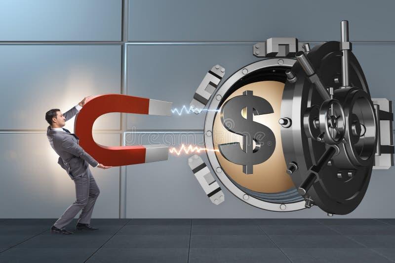 Der Geschäftsmann, der Bank im Finanzkriminalitätskonzept beraubt lizenzfreie stockbilder