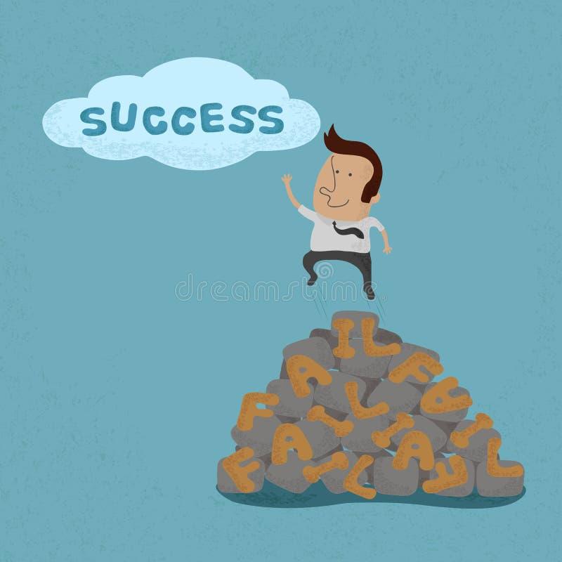 Der Geschäftsmann, der über den Ausfall springt, gehen zum Erfolg stock abbildung
