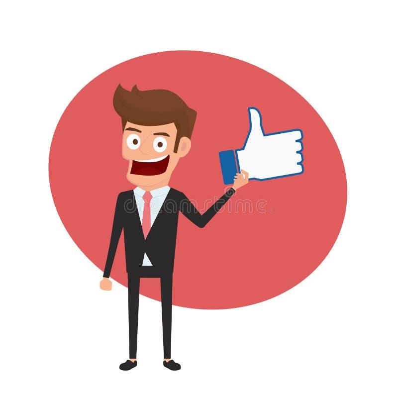 Der Geschäftsmann, der Daumen hält, up Zeichen wie und Konzept des positiven Feedbacks lizenzfreie abbildung