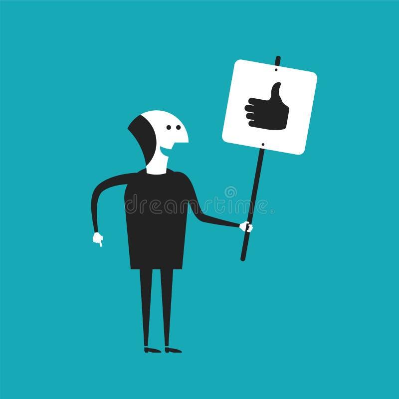 Der Geschäftsmann, der Daumen zeigt, up Plakatvektorkonzept in der flachen Karikaturart lizenzfreie abbildung