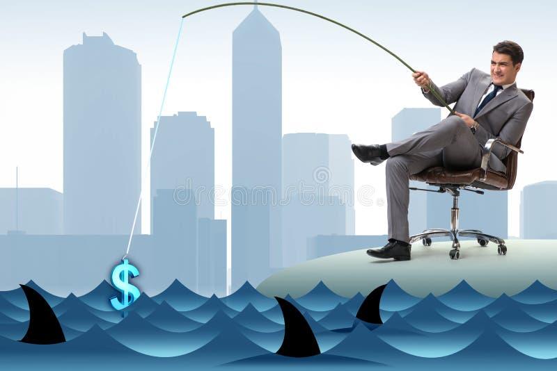 Der Geschäftsmann, der heraus Dollar vom Wasser fischt lizenzfreie abbildung