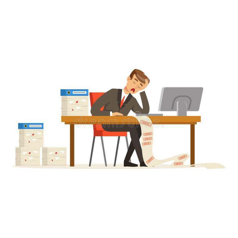 Der Geschäftsmann, der mit dem Computer heraus betont wird durch lange Liste von Schulden arbeitet, vector Illustration stock abbildung
