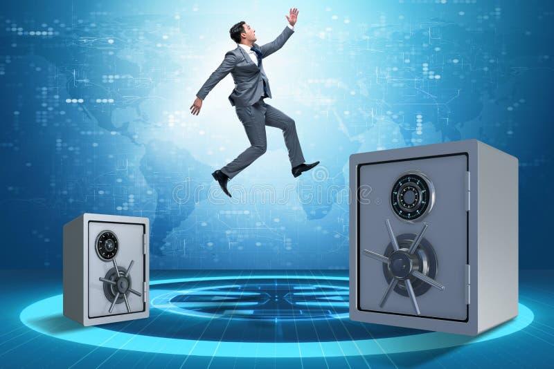 Der Geschäftsmann, der von den Safes im Geschäftskonzept springt stockfoto