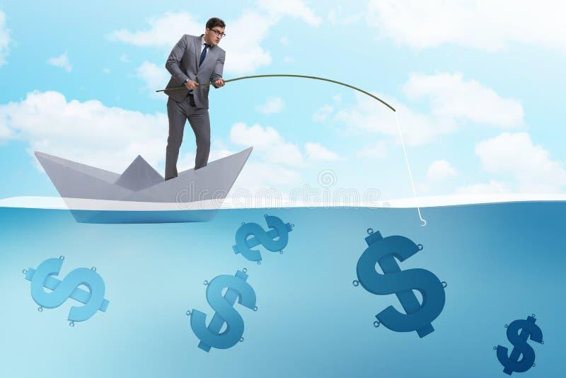 Der Geschäftsmann, der Dollargeld vom Papierbootsschiff fischt vektor abbildung
