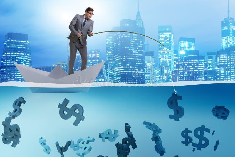 Der Geschäftsmann, der Dollargeld vom Papierbootsschiff fischt stock abbildung
