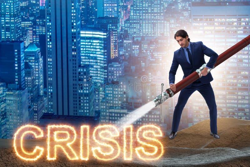 Der Geschäftsmann, der erfolgreich Krise und Rezession beschäftigt vektor abbildung