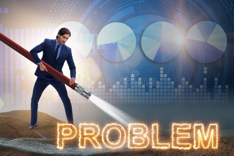 Der Geschäftsmann, der erfolgreich Probleme beschäftigt lizenzfreie abbildung