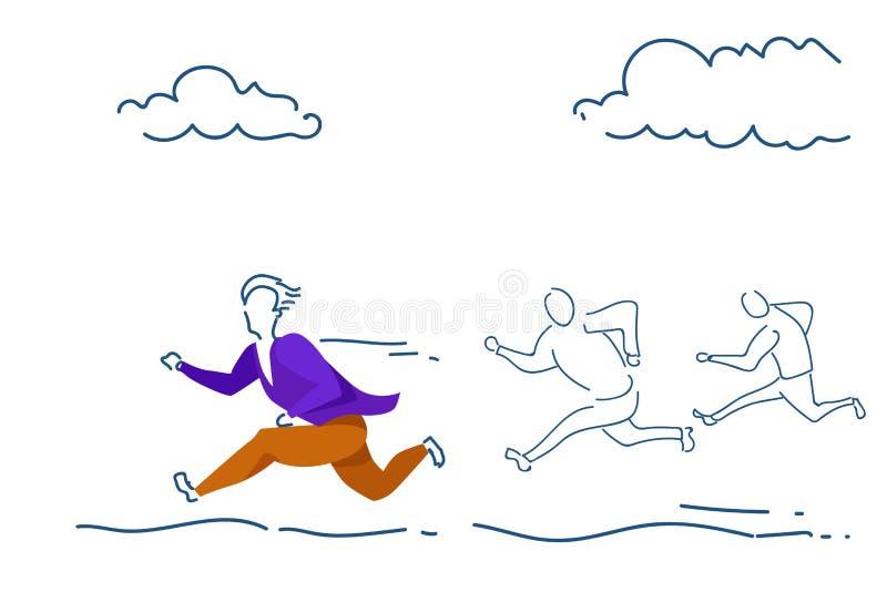 Der Geschäftsmann, der Erstplatz- Teamleiterkonzeptmann laufen lässt, färbte horizontales Skizzengekritzel des Schattenbildes in  lizenzfreie abbildung