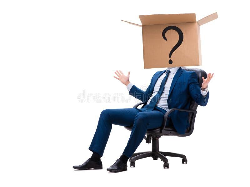 Der Geschäftsmann, der Fragen im Geschäftskonzept stellt lizenzfreie stockfotografie