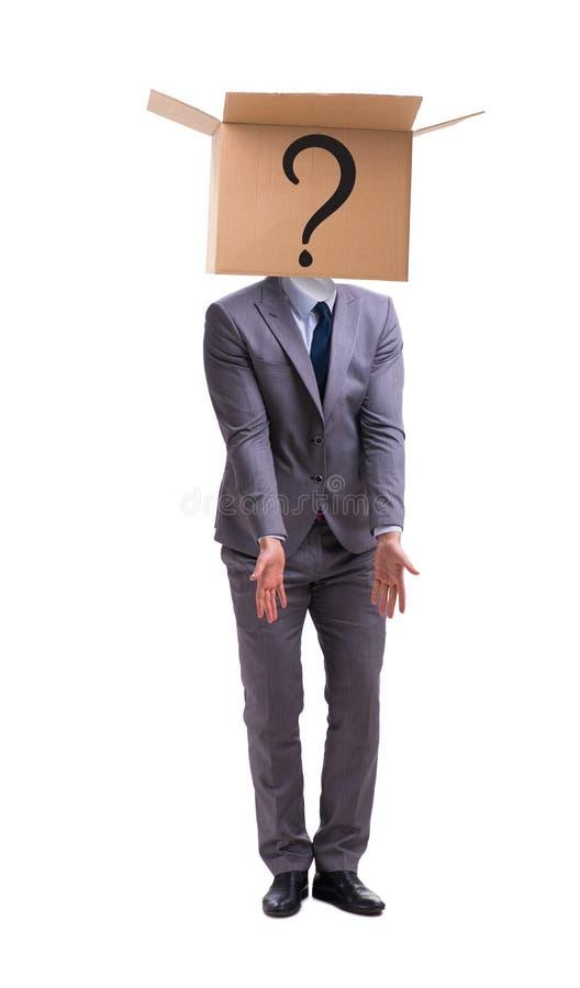 Der Geschäftsmann, der Fragen im Geschäftskonzept stellt stockbilder